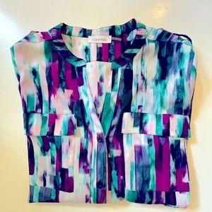 CALVIN KLEIN | art deco blouse M